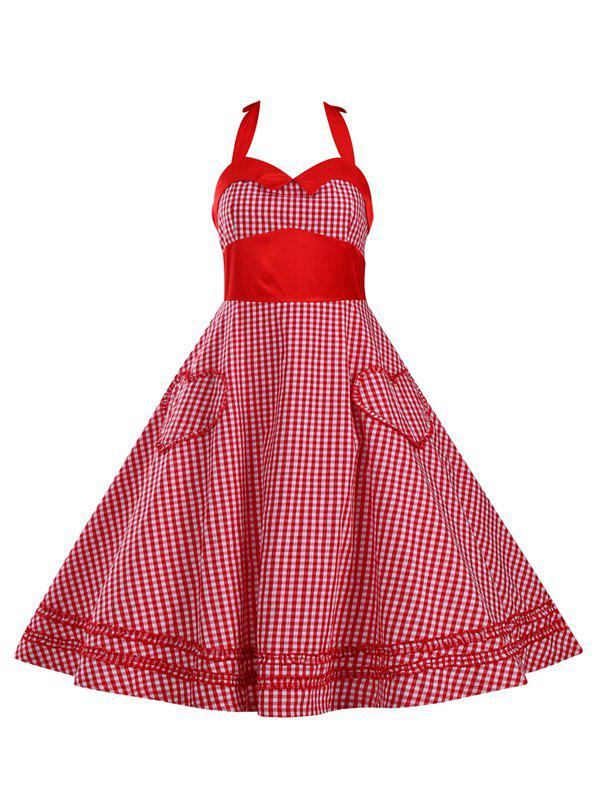 Retro Women's Checked Ruffled Flare Dress - RED 3XL