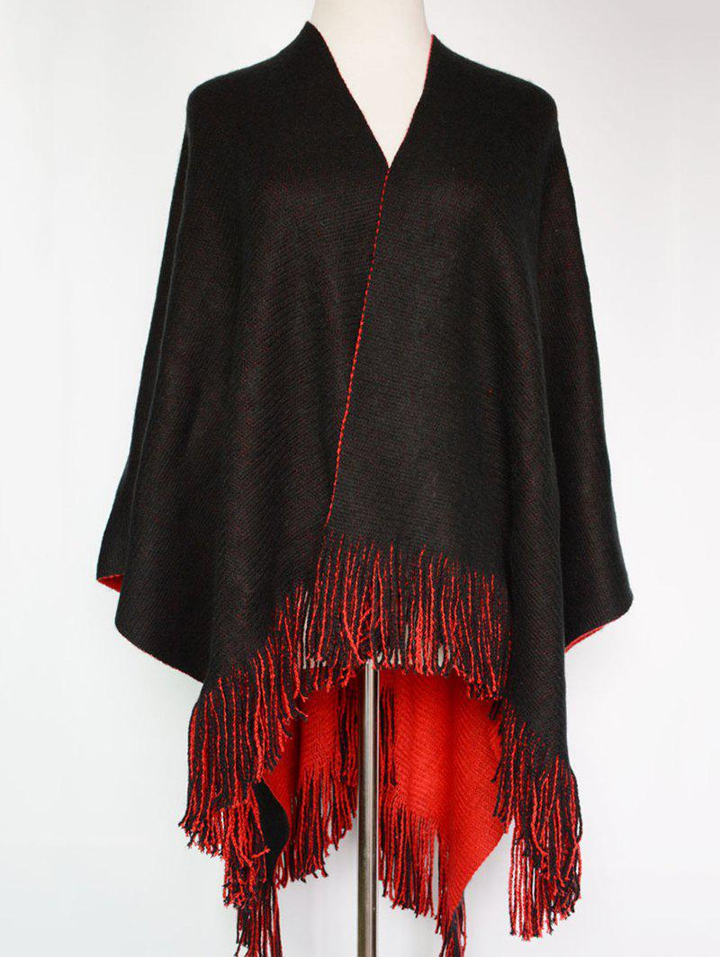 Fashion Style Long Tassel Embellished Two-Sided Pashmina - RED/BLACK