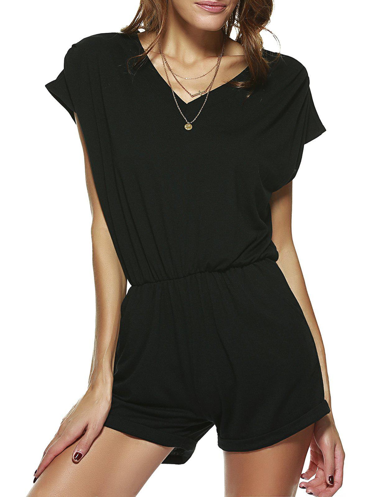 Casual V Neck Pocket Design Romper