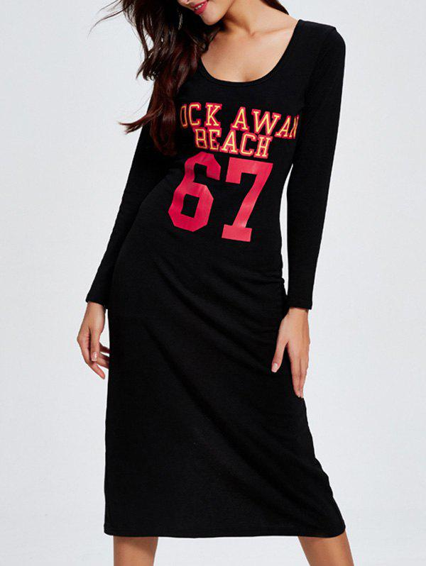 Casual Number Back Slit Dress For Women - BLACK 2XL