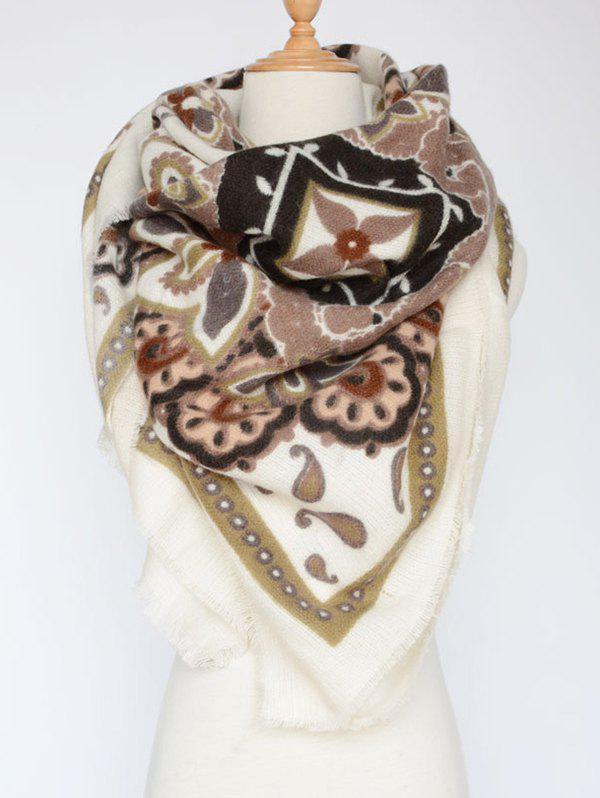 Arab Style Flower Pattern Outdoor Warm Fringed Pashmina Scarf - OFF WHITE