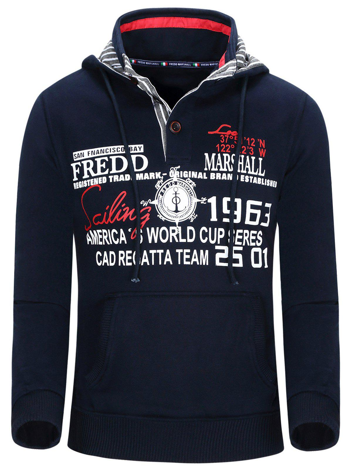 Compass and Letters Print Hooded Thicken Men's Hoodie