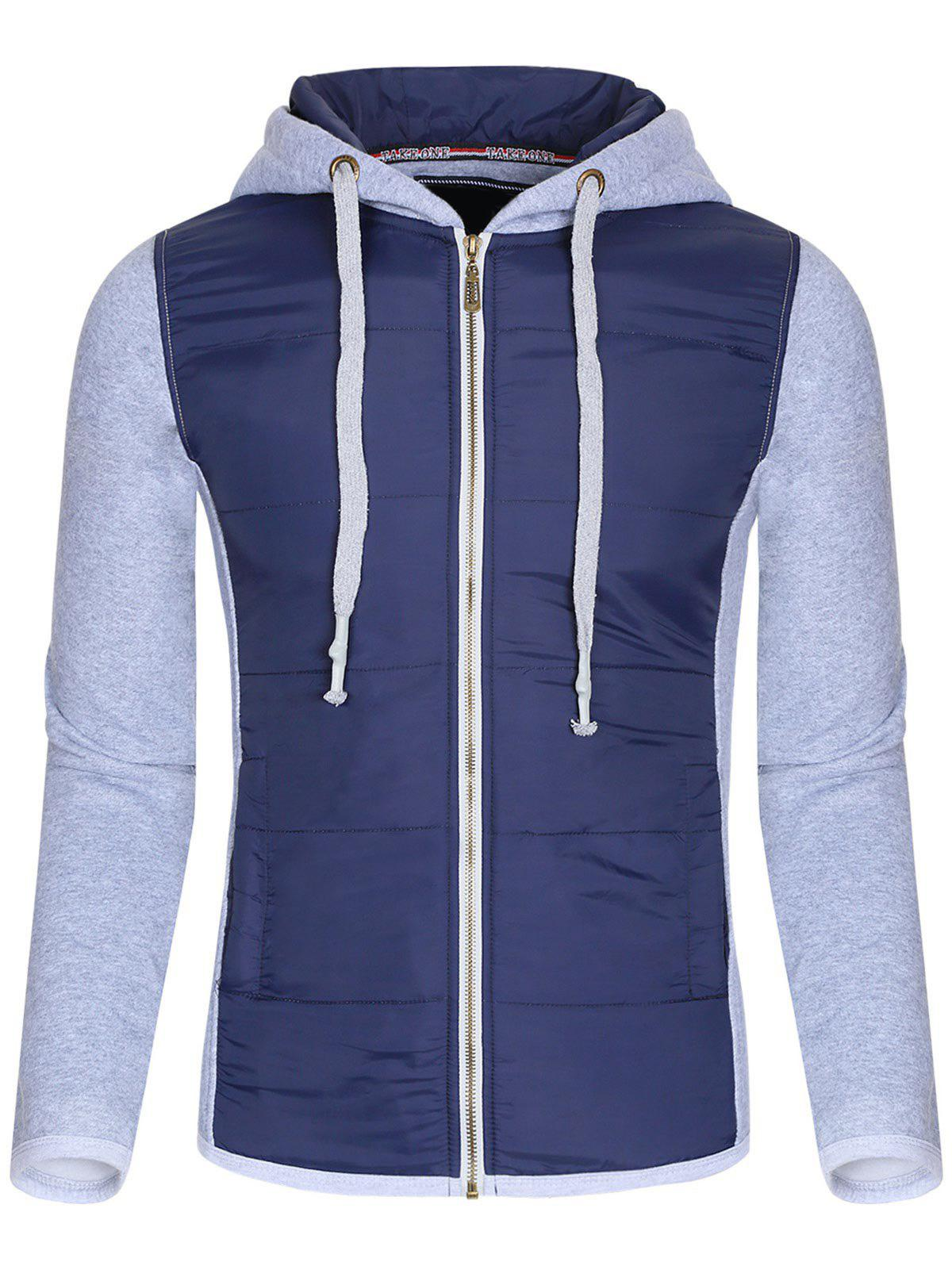 Color Block Polyester Splicing Design Hooded Thicken Men's Hoodie - GRAY XL