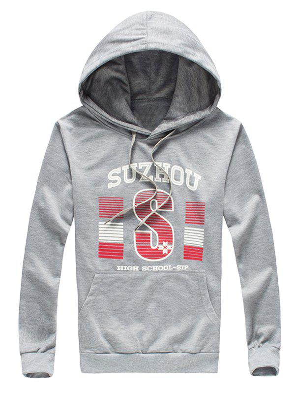 Classic Letter Print Loose-Fitting Long Sleeves Hoodie For Men - GRAY 2XL