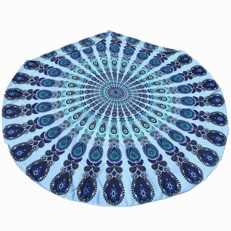 Arab Style Bikini Boho Swimwear Mandala Printed Chiffon Round Beach Throw Scarf - BLUE