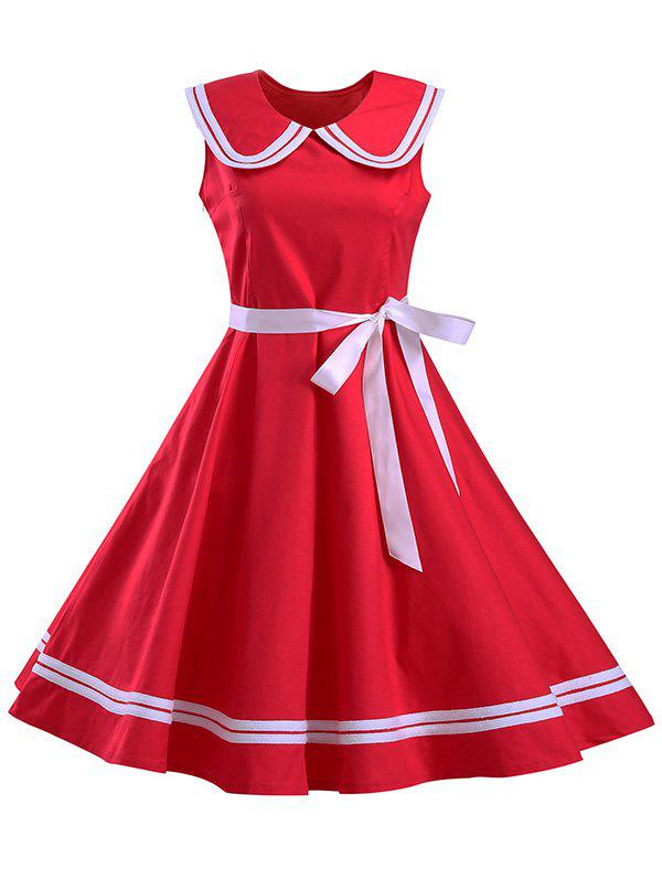 Graceful Women's Sailor Collar Sleeveless Flare Dress - RED 2XL