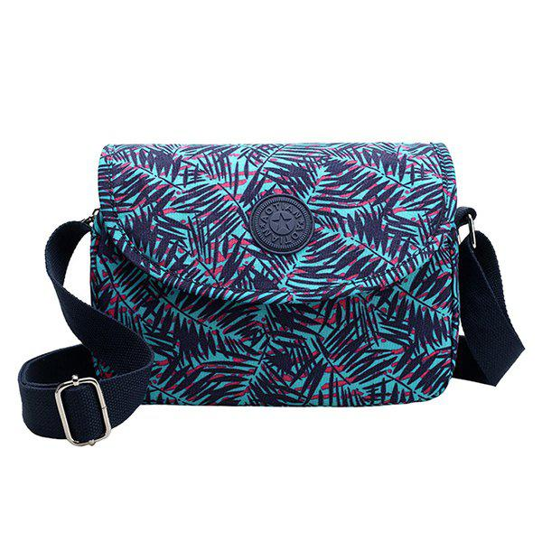 Leisure Nylon and Bamboo Leaves Print Design Women's Crossbody Bag - BLUE