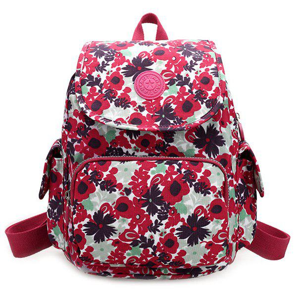 Trendy Multicolor and Floral Print Design Women's Backpack - ROSE MADDER
