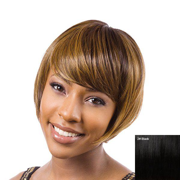 Women's Short Straight Side Bang Impressive Human Hair Wig - BLACK