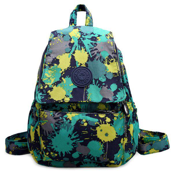 Stylish Nylon and Multicolor Design Women's Backpack - GREEN