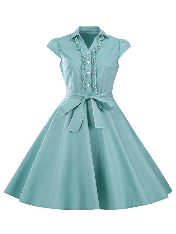 Ruffled Cap Sleeves Flare A Line Dress - LIGHT GREEN S