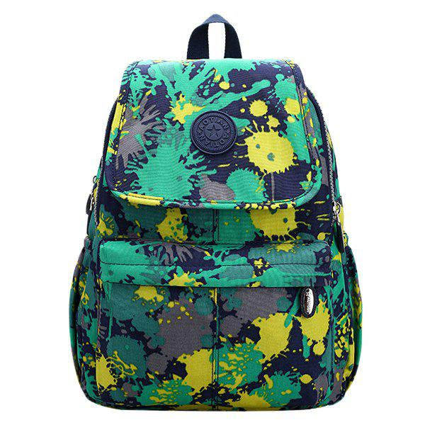 Fashionable Zippers and Nylon Design Women's Backpack - GREEN