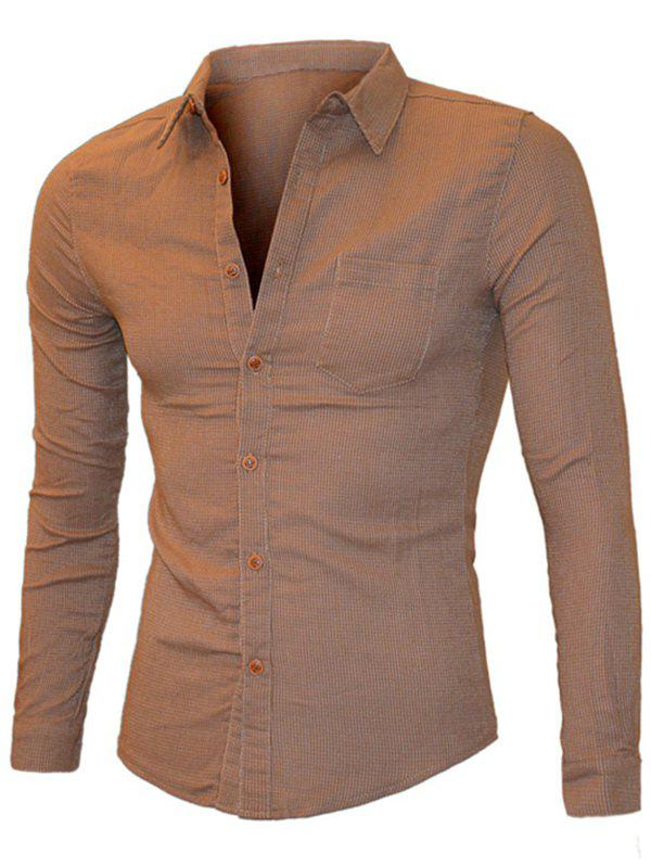 Pocket Design Solid Color Long Sleeve Men's Shirt - CAMEL M