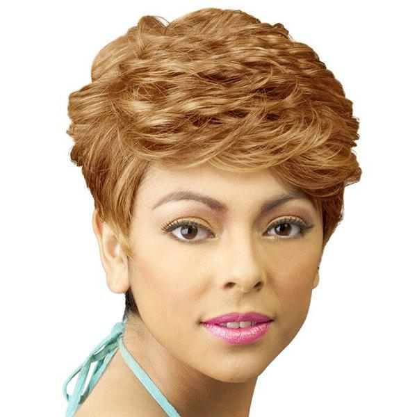 Women's Side Bang Short Fluffy Curly Fashion Human Hair Wig - DARK ASH BLONDE