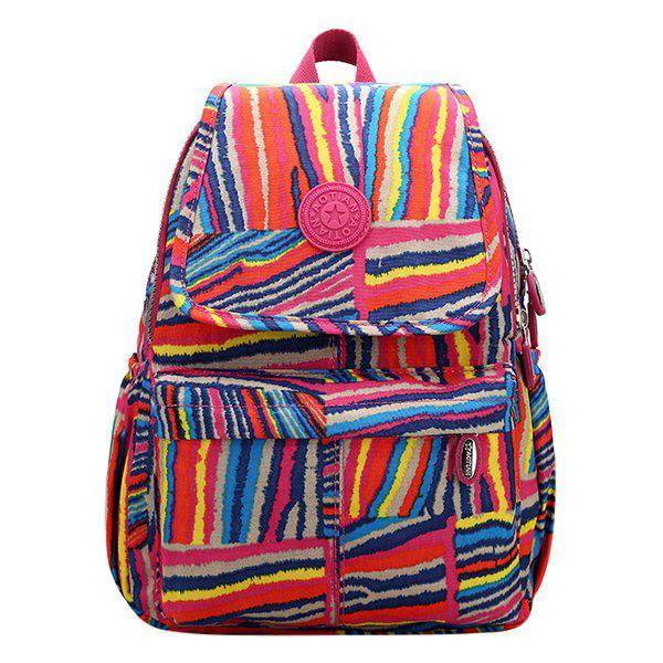 Fashion Nylon and Color Stripe Design Women's Backpack - COLORMIX