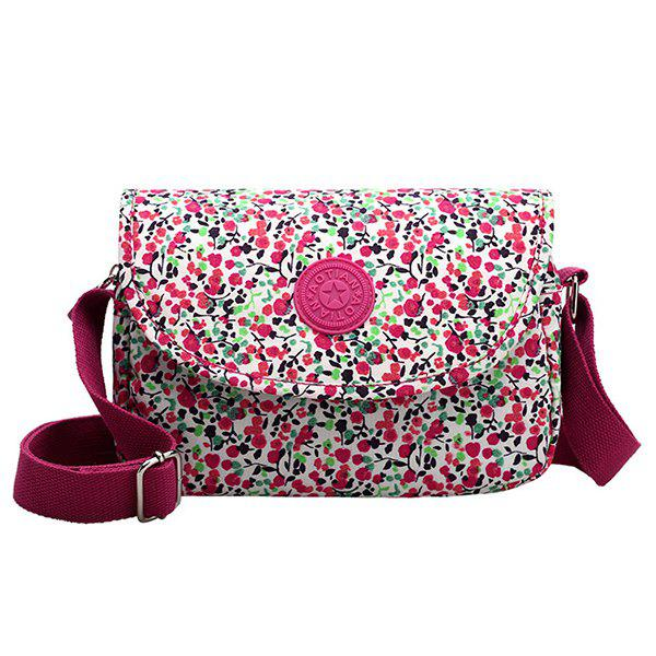 Leisure Magnetic Closure and Tiny Floral Print Design Women's Crossbody Bag - ROSE MADDER