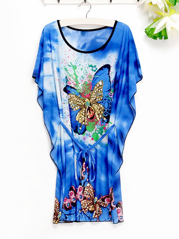 Casual Women's Butterfly Pattern Loose-Fitting Dress - BLUE ONE SIZE