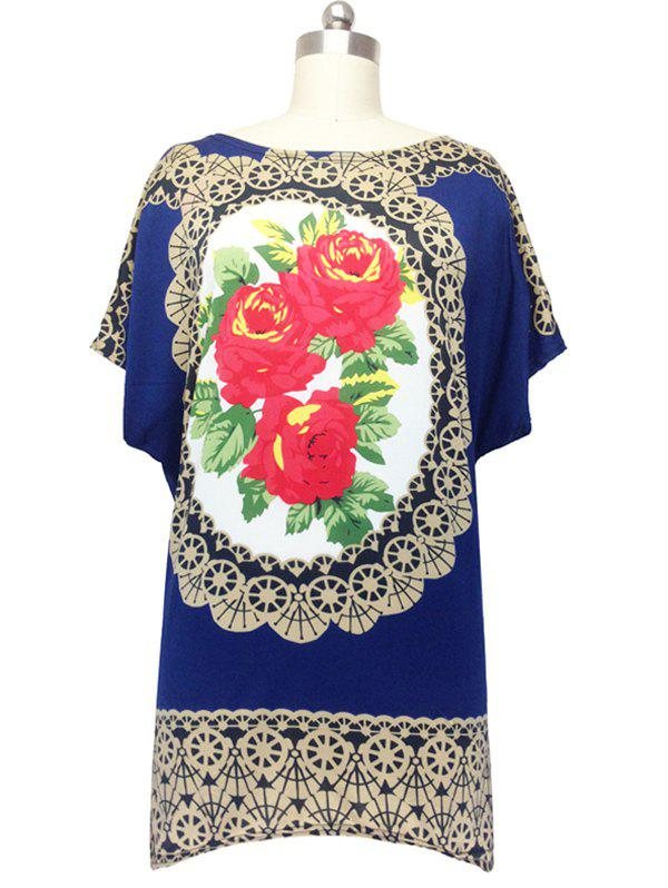 Graceful Loose-Fitting Floral Blouse For Women - PURPLISH BLUE ONE SIZE