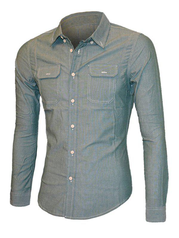 Turn-Down Collar Pockets Embellished Long Sleeve Men's Shirt - BLUE GRAY XL