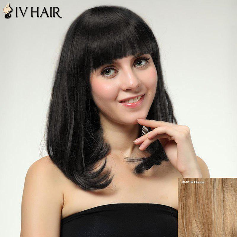Women's Medium Straight Tail Adduction Full Bang Sweet Siv Human Hair Wig - BLONDE