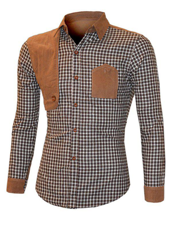Turn-Down Collar Suede Splicing Plaid Long Sleeve Men's Shirt - BROWN L
