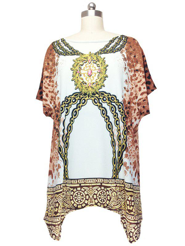 Fashionable Cap Sleeve Chains Print Blouse For Women - WHITE ONE SIZE