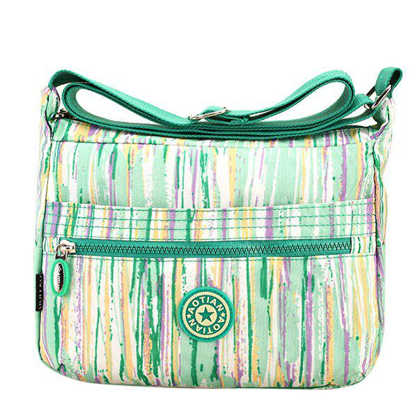 Concise Zipper and Stripes Design Women's Shoulder Bag - LIGHT GREEN