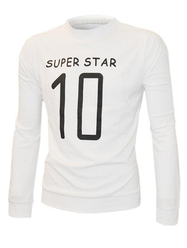 Long Sleeve Super Star Letter Print Men's Sweatshirt - WHITE XL