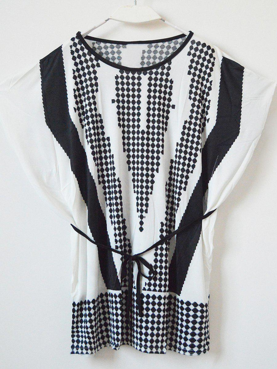 Brief Women's Polka Dot Loose-Fitting Dress - WHITE ONE SIZE