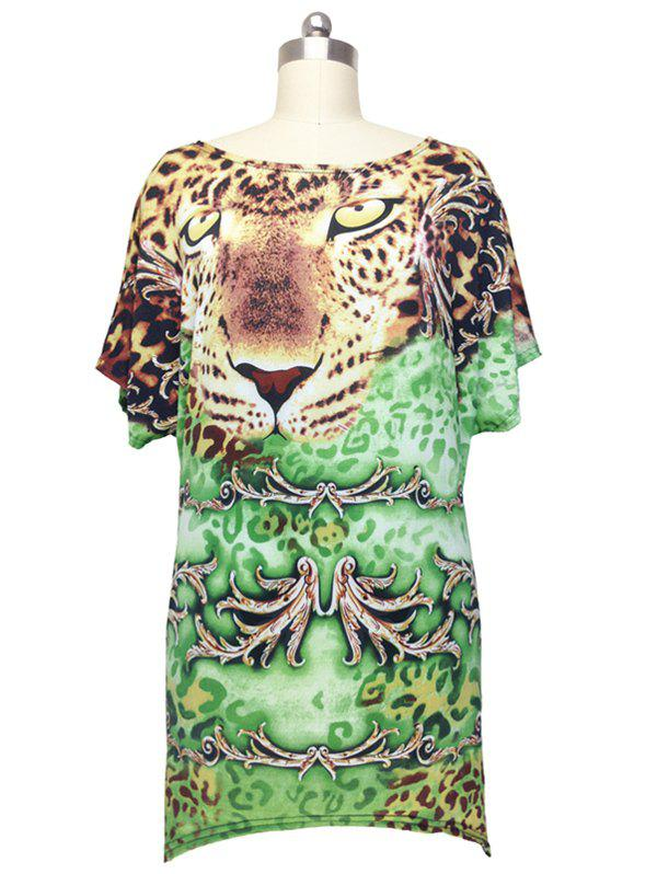 Chic Leopard Print Cap Sleeve Blouse For Women - GREEN ONE SIZE