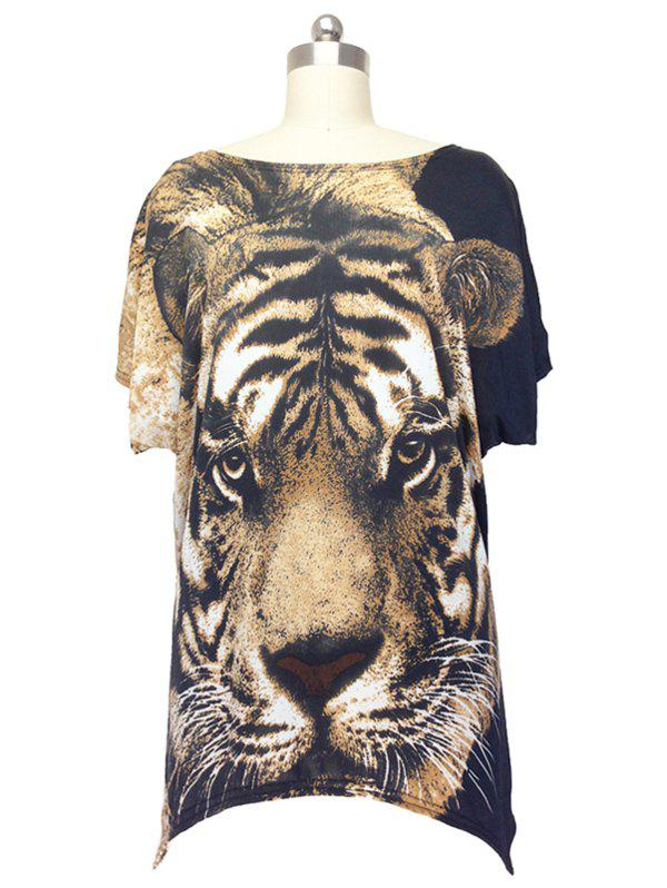 Trendy Tiger Print Loose Fitting Blouse For Women - BLACK ONE SIZE