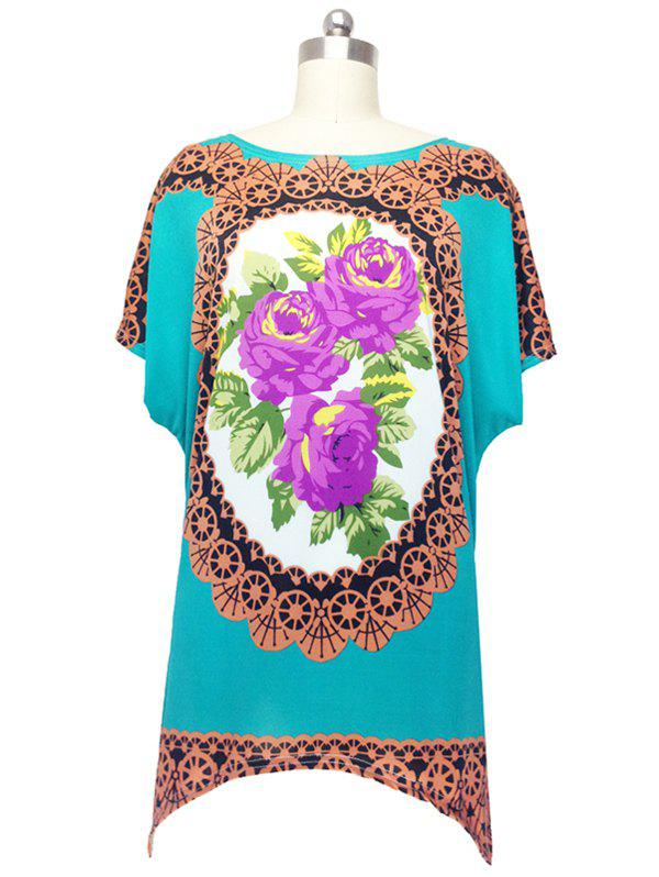 Vintage Floral Print Blouse For Women - LAKE BLUE ONE SIZE