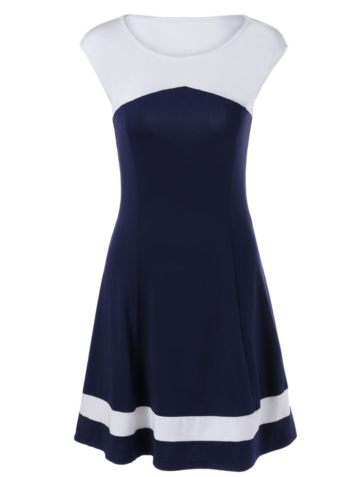 Brief A-Line Hit Color Women's Dress - BLUE/WHITE XL