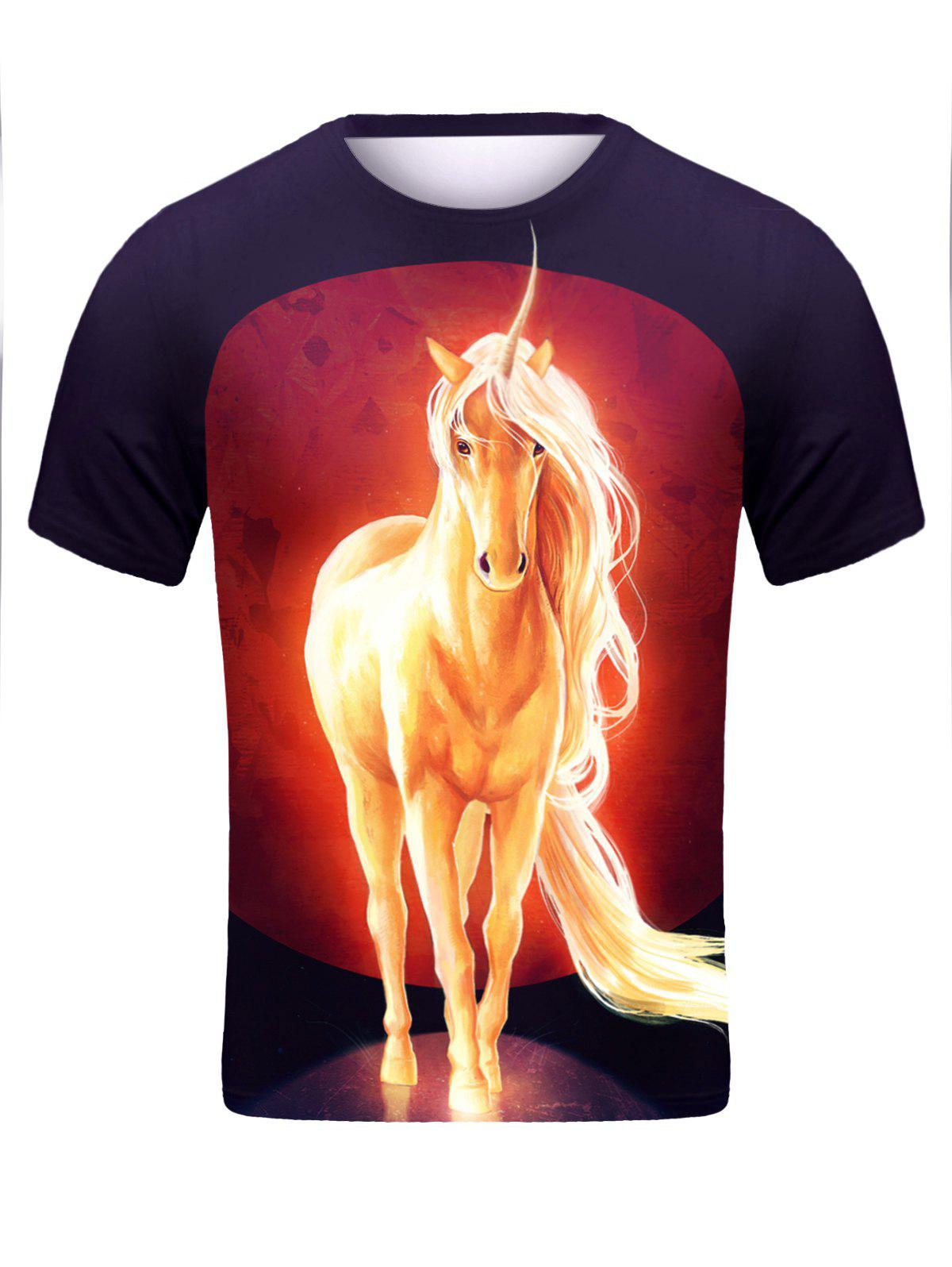 3D Unicorn Print Round Neck Short Sleeve Stylish Men's T-Shirt - BLACK 2XL