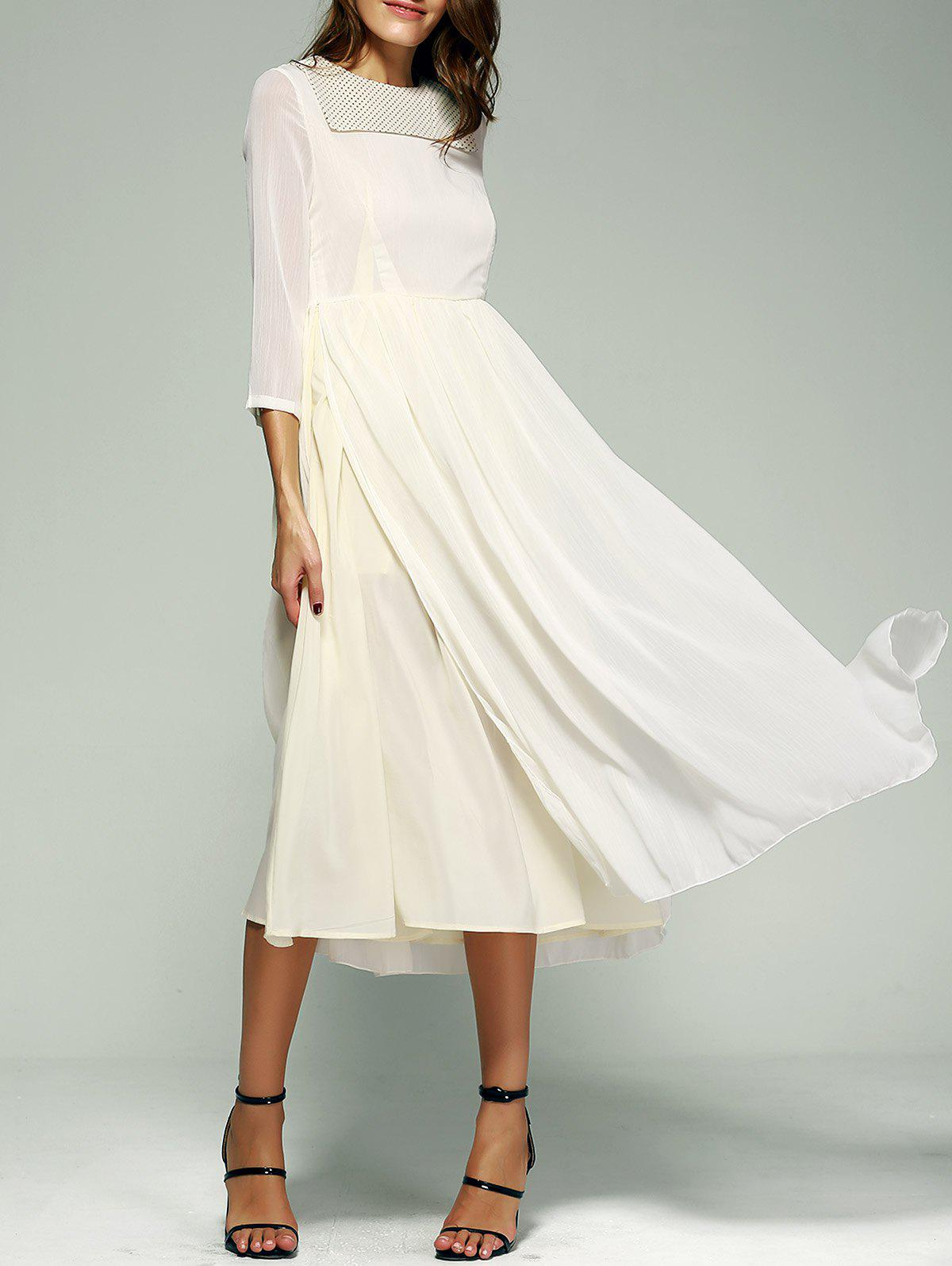 Splicing 3/4 Sleeve Round Neck Dress - OFF WHITE XL