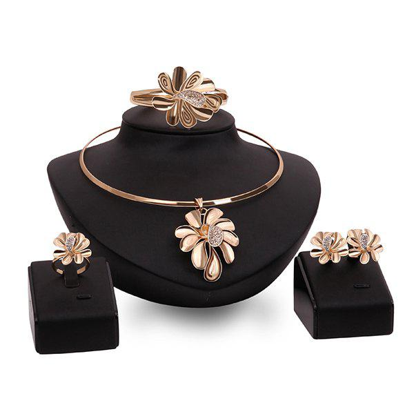 Curved Flower High Polished Rhinestone Necklace Set - ROSE GOLD