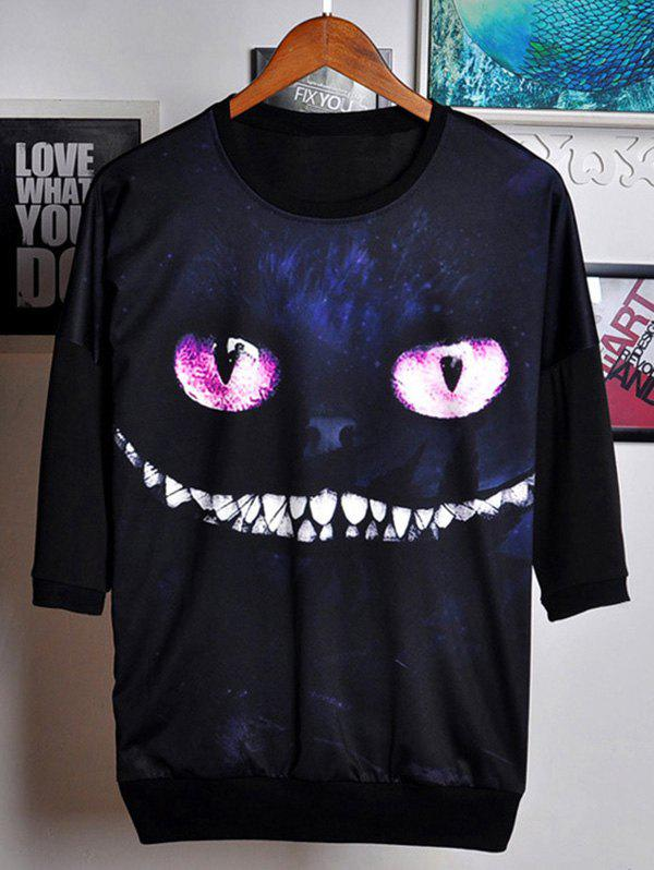 3D Cat Print Round Neck Three Quater Sleeve Men's T-Shirt