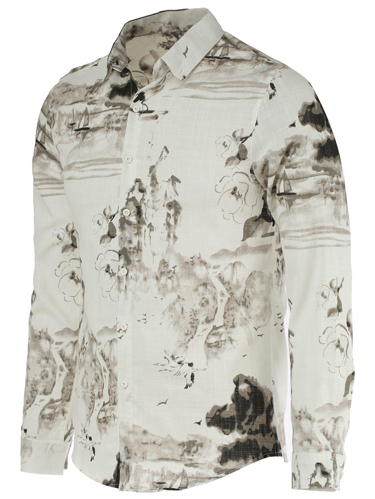Landscape Paniting Print Turn-Down Collar Long Sleeves Shirt For Men - WHITE/BLACK 2XL