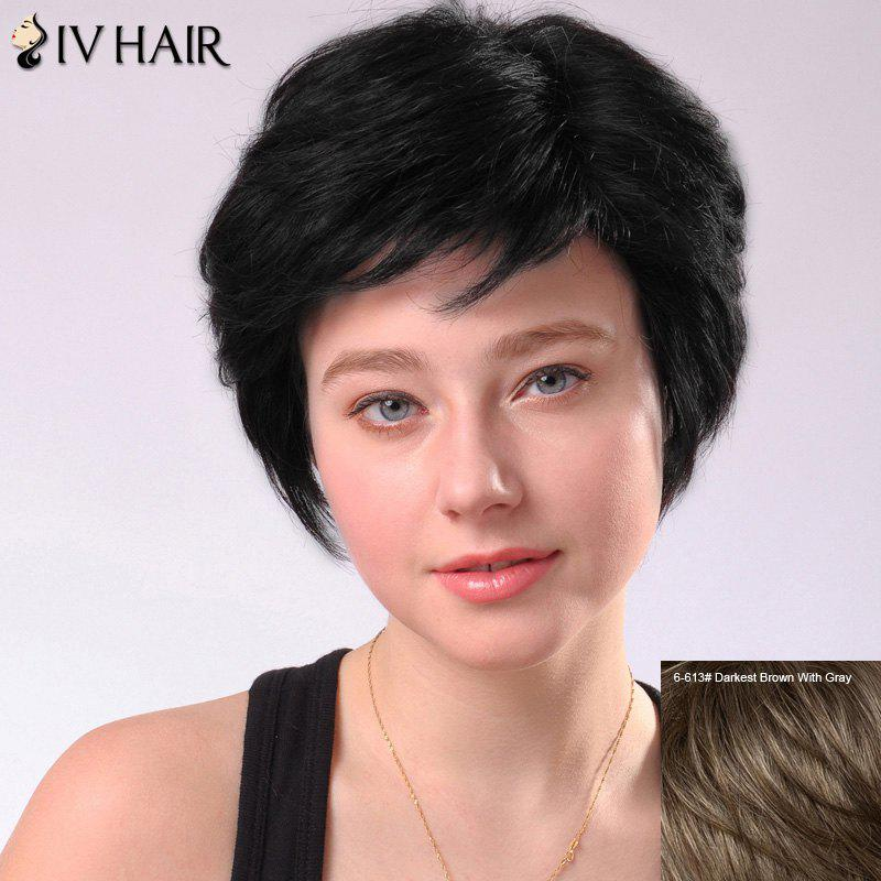 Women's Refreshing Short Fluffy Side Parting Siv Human Hair Wig - DARKEST BROWN/GRAY