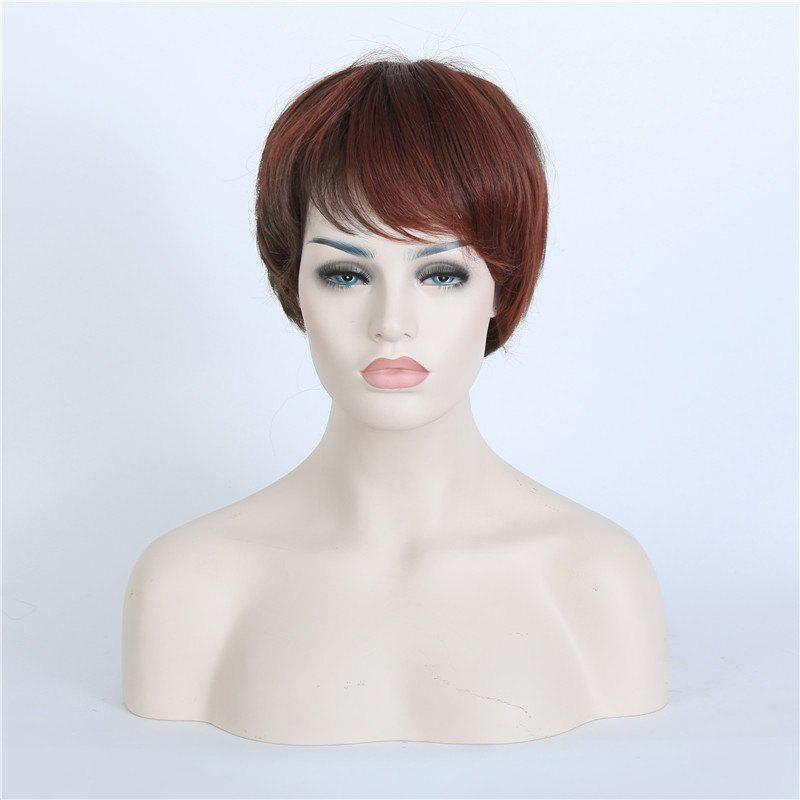 Vogue Spiffy Ultrashort Inclined Bang Straight Capless Synthetic Mixed Color Women's Wig
