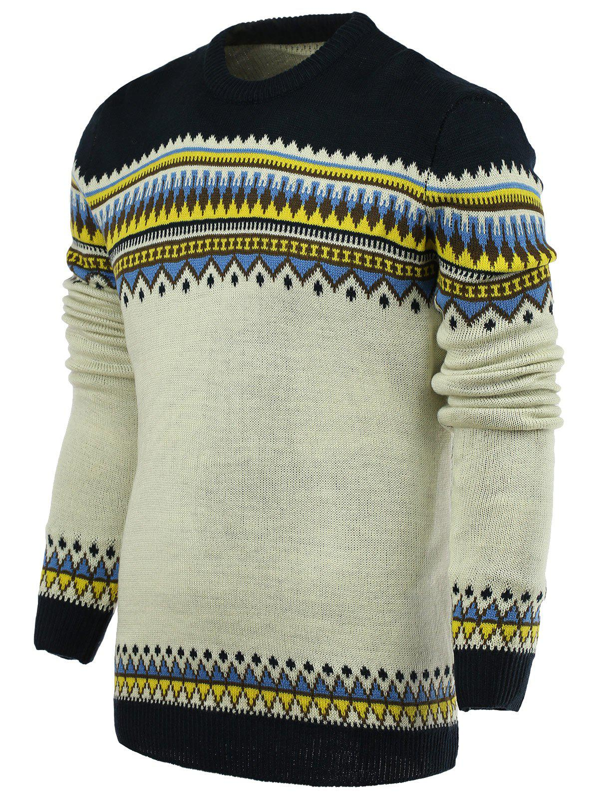Ethnic Style Geometric Pattern Stylish Round Neck Long Sleeve Men's Sweater - PURPLISH BLUE XL