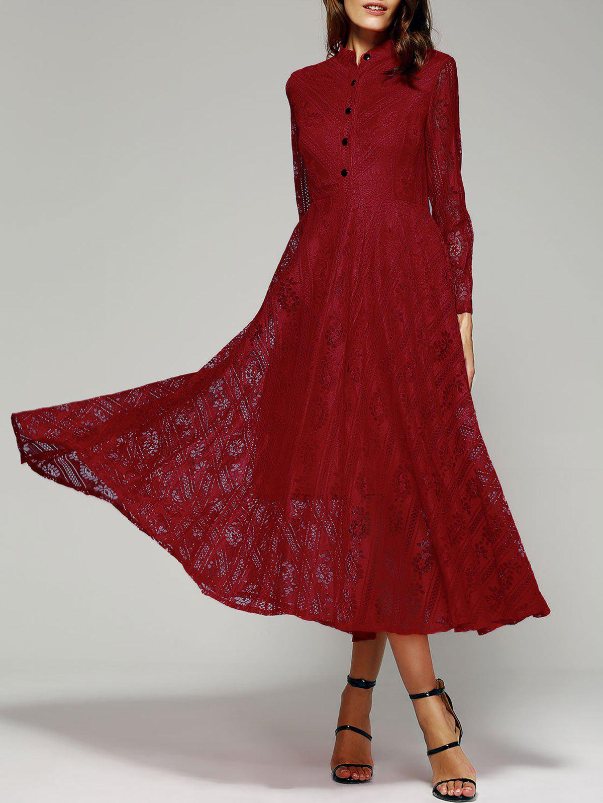 Long Sleeve Stand Collar Wine Red Lace Dress
