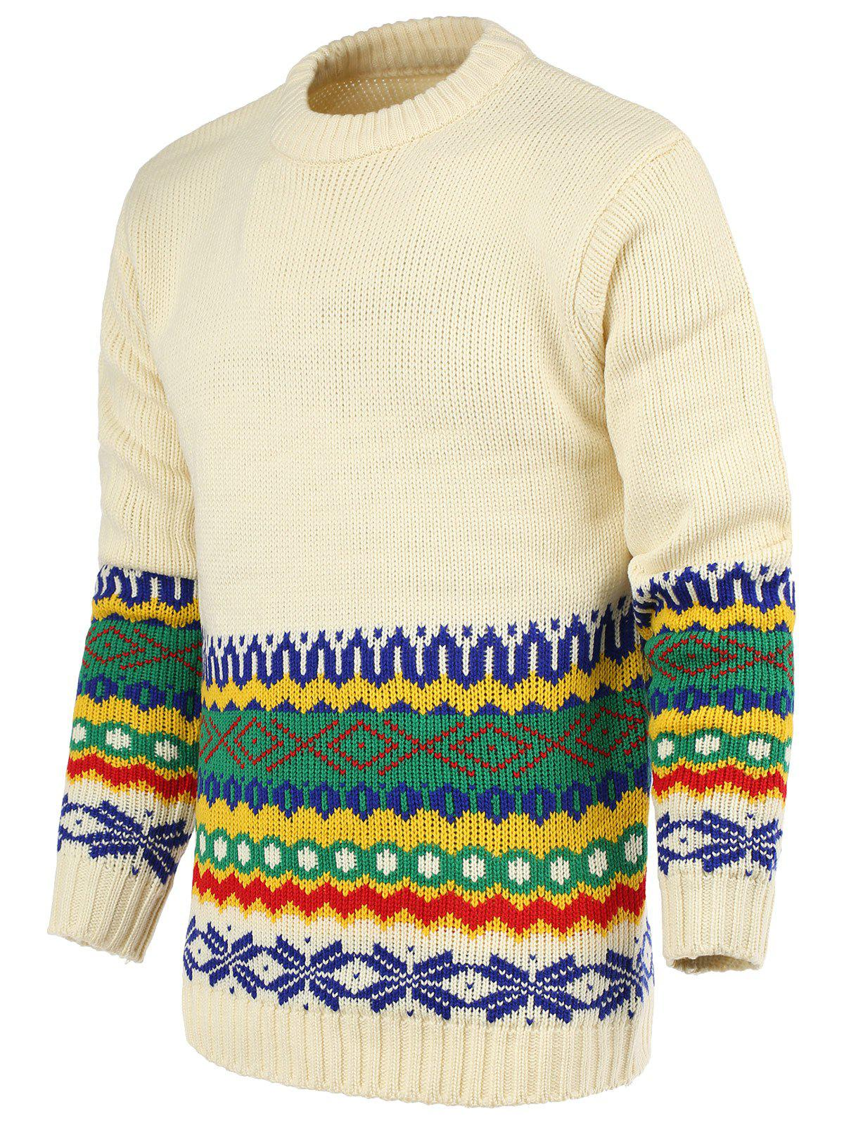 National Wind Geometric Pattern Round Neck Long Sleeve Men's Sweater - WHITE XL