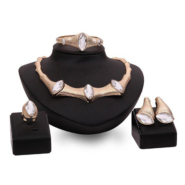 Faux Crystal Gold Plated Leaf Bamboo Shape Necklace Set - ROSE GOLD