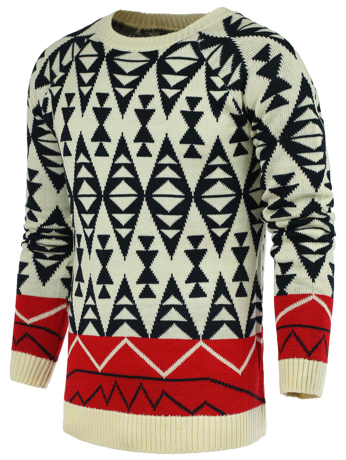 Geometric Pattern Color Block Spliced Round Neck Long Sleeve Men's Sweater - WHITE XL