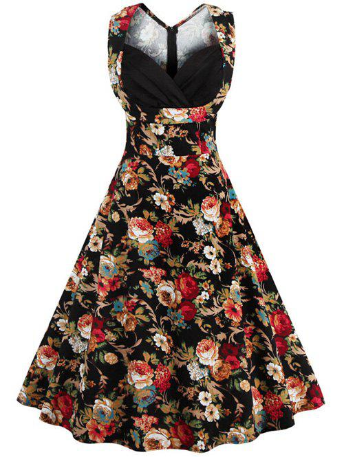 Retro Style High-Waisted Floral Print Women's Dress - BLACK 4XL