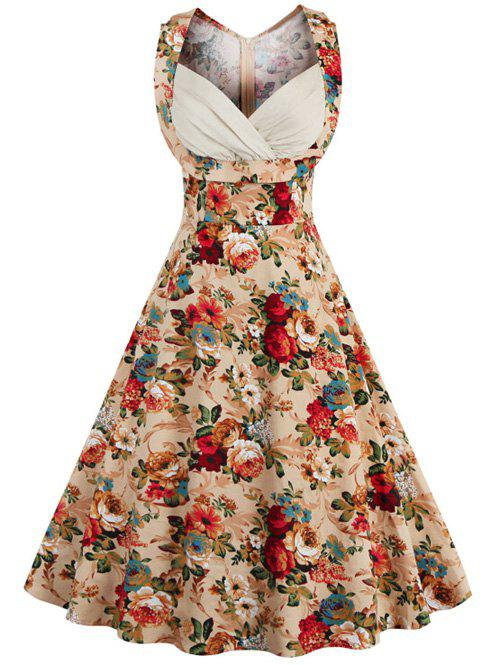 Retro Style High-Waisted Floral Print Women's Dress, KHAKI, XL in ...