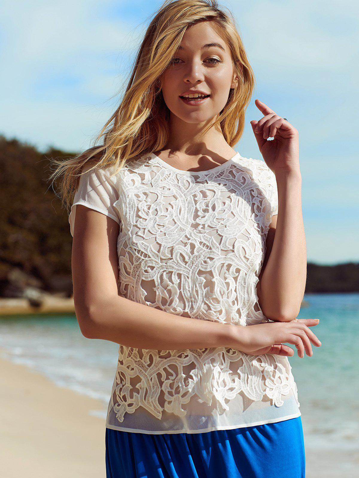 Stylish Women's Short Sleeve Lace Embellished Blouse - WHITE L