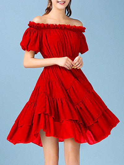 Sweet Off The Shoulder Solid Color Chiffon Women's Dress - RED XL