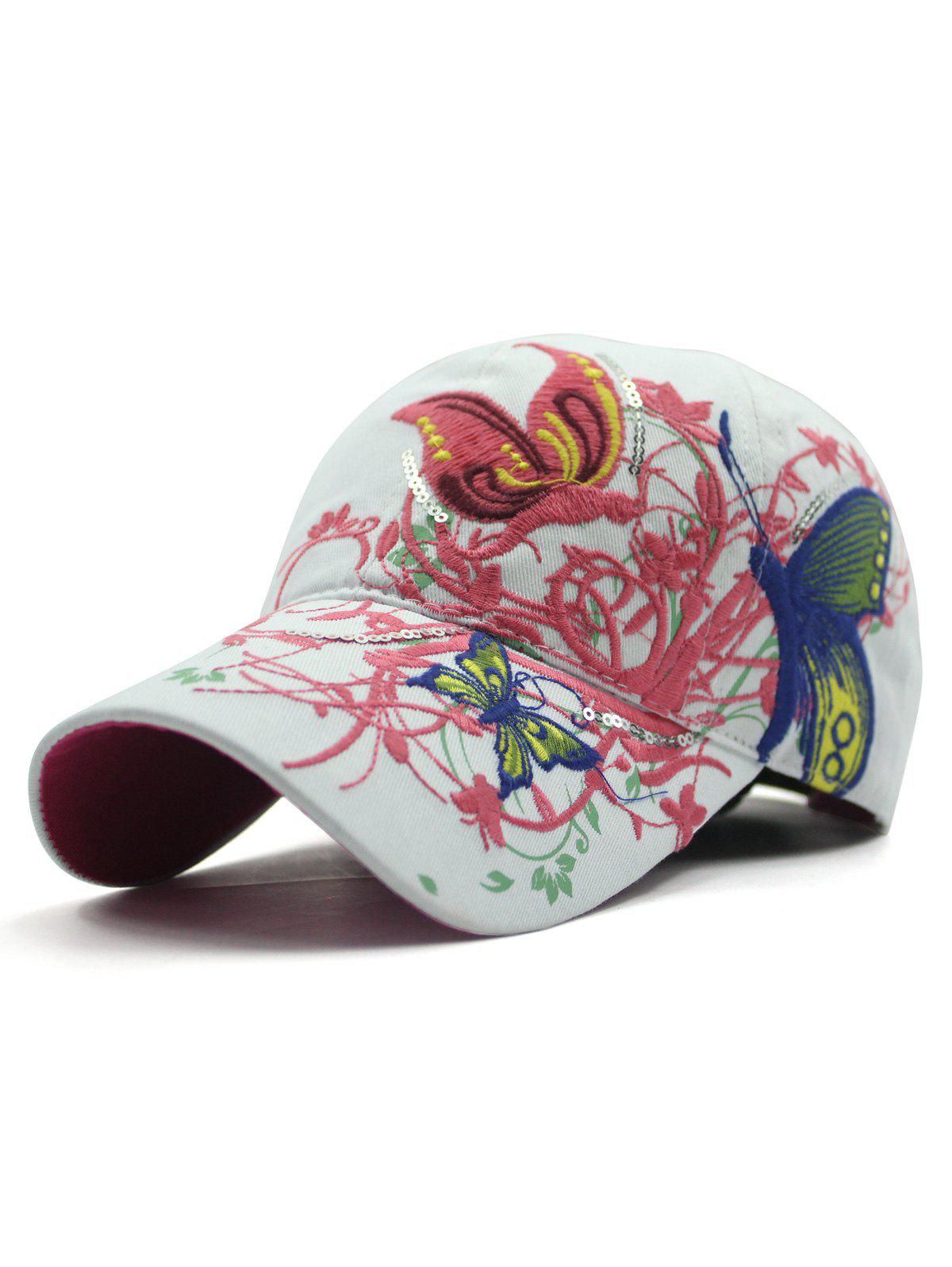 Chic Rattan Butterfly Embroidery Baseball Hat - WHITE